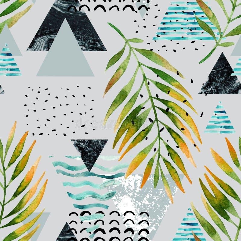 Triángulos con las hojas de la palmera, garabato, mármol, texturas del grunge ilustración del vector