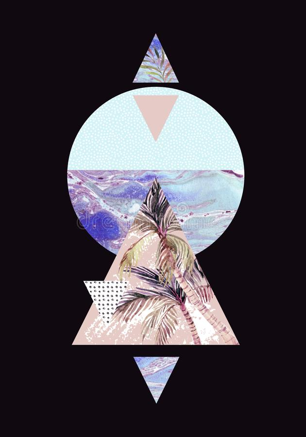 Triángulos con texturas del grunge de la palmera, de la hoja y del mármol stock de ilustración