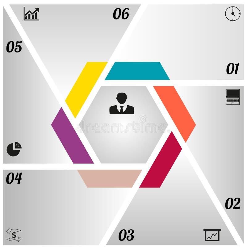 Triángulos de Infographics y un hexágono stock de ilustración