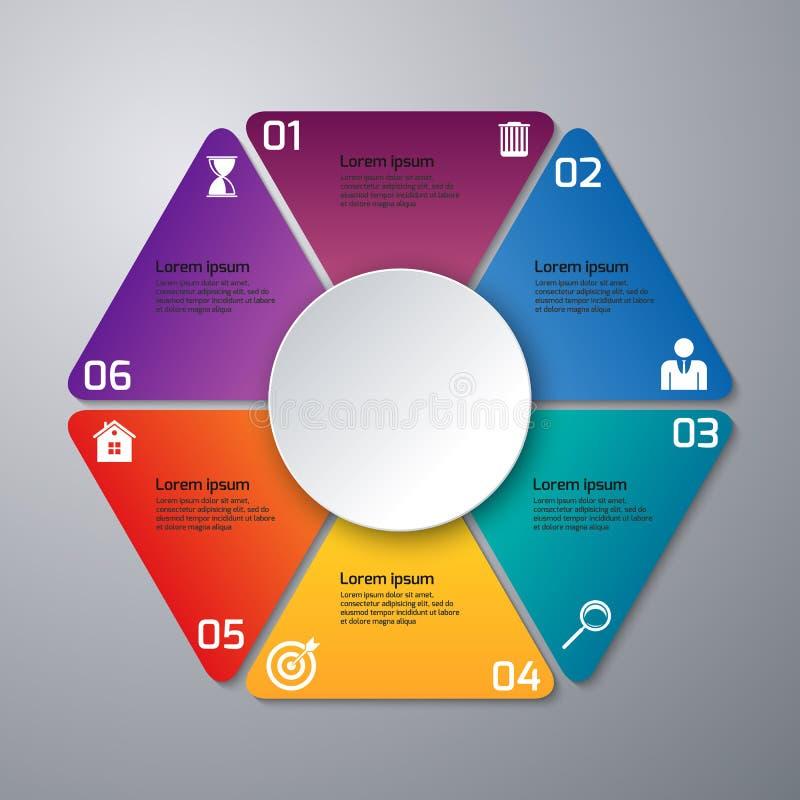 Triángulos del infographics del ejemplo del vector, seis opciones ilustración del vector