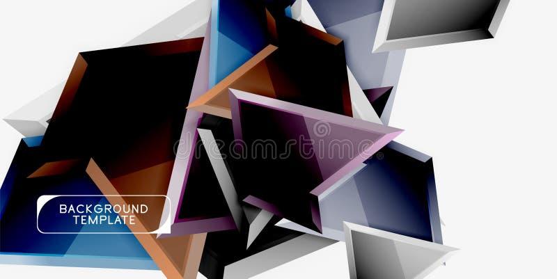 Triángulos geométricos mínimos con la plantilla abstracta del fondo del efecto 3d foto de archivo