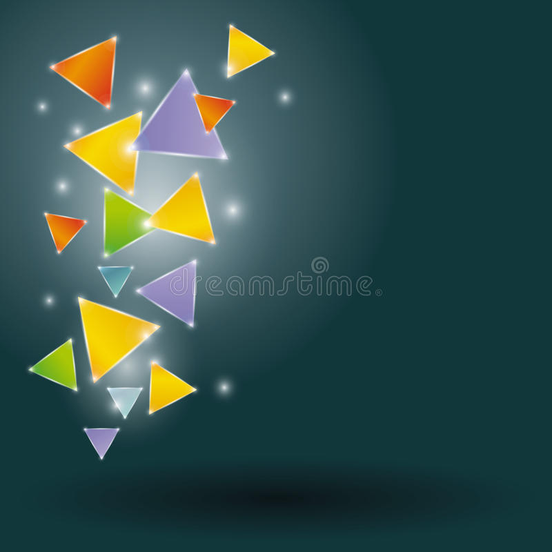 Triángulos que brillan intensamente en un fondo negro libre illustration