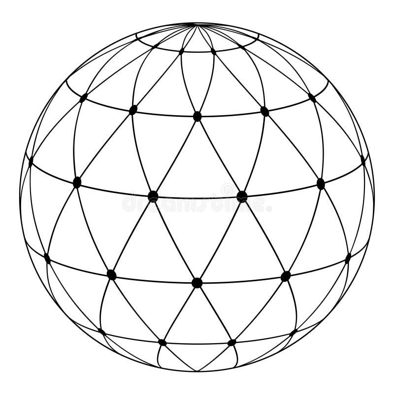 Triángulos radiales del modelo del globo ilustración del vector