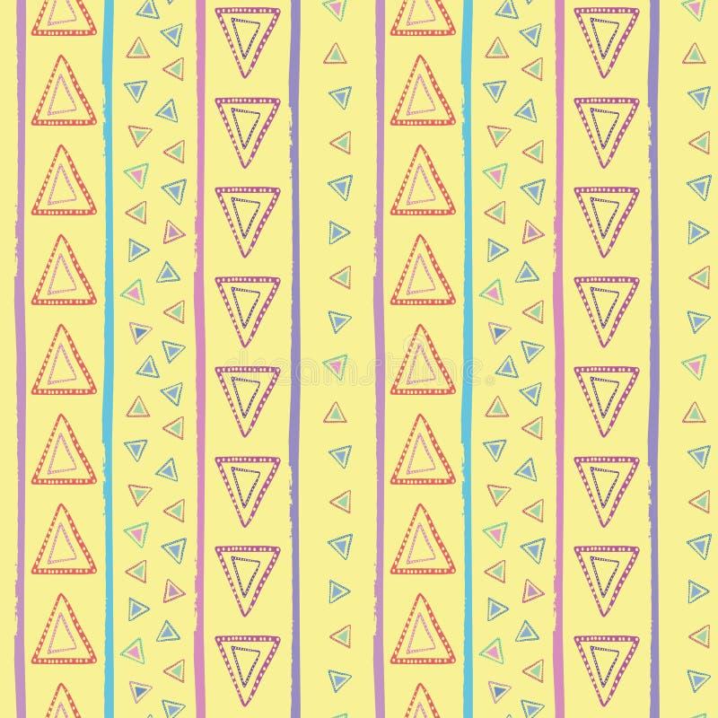 Triángulos rojos de la mano, azules, amarillos, púrpuras tribales exhaustos y rayas irregulares Modelo inconsútil del vector e ilustración del vector