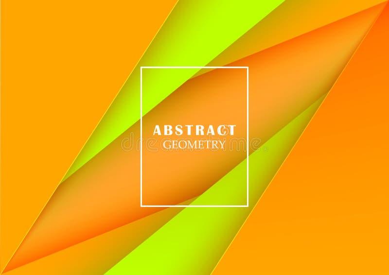 Triángulos verdes de papel abstractos stock de ilustración