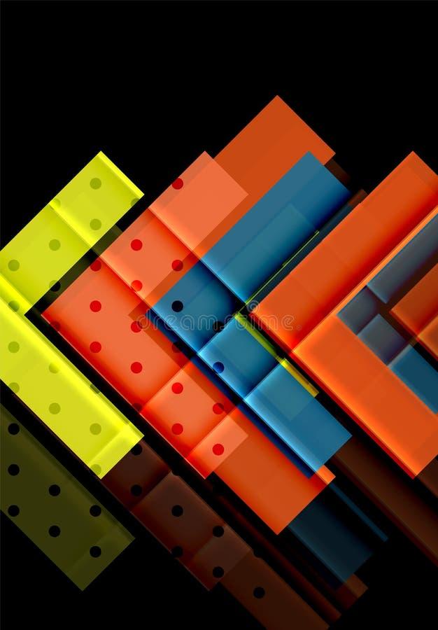 Triángulos y flechas coloridos en fondo oscuro ilustración del vector