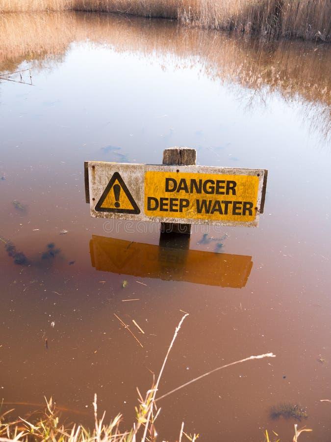 Triângulo amarelo de advertência cuidadoso de superfície da água do sinal das águas profundas do perigo foto de stock royalty free