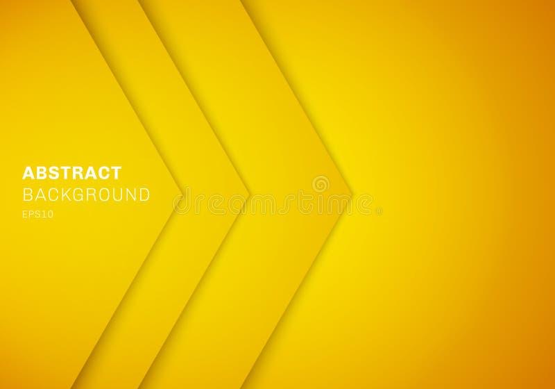 Tri?ngulo amarelo do sum?rio 3D com cor do inclina??o da camada do papel da sobreposi??o com fundo do espa?o da c?pia ilustração do vetor