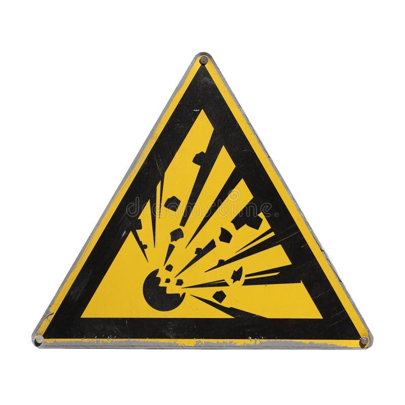Triângulo amarelo explosivo Perigo de advertência foto de stock royalty free