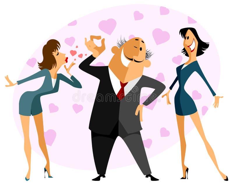 Triângulo amoroso engraçado ilustração royalty free
