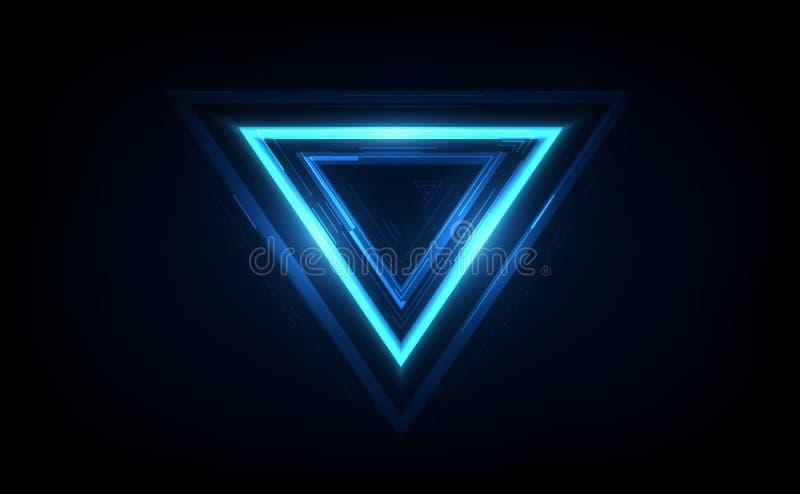 Triângulo arredondado de néon de incandescência no fundo escuro Quadro geométrico iluminado do polígono Ilustra??o do vetor ilustração stock