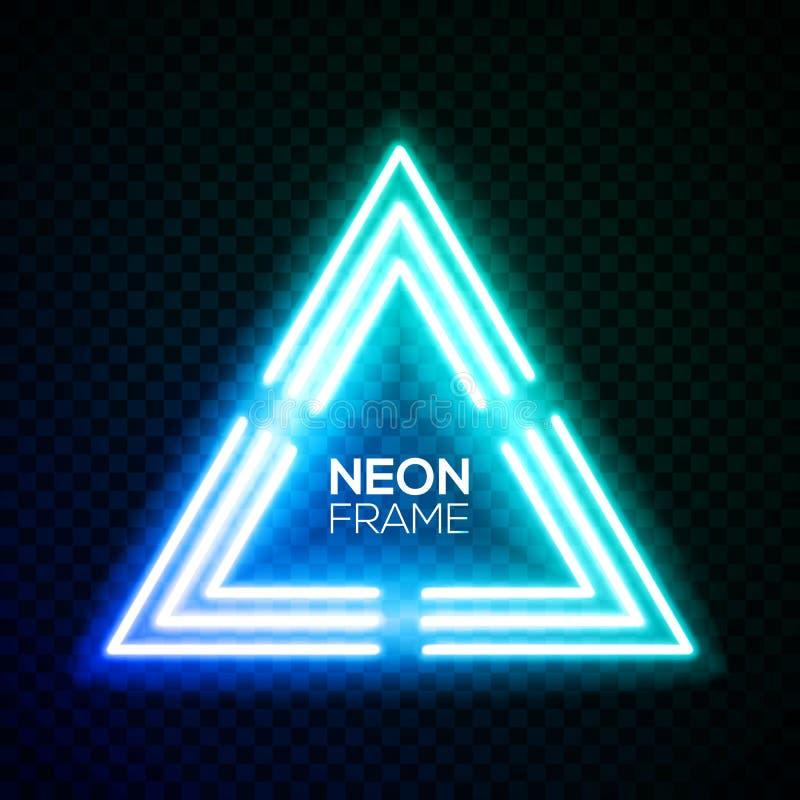Triângulo azul da luz de néon Quadro do techno do inclinação ilustração do vetor