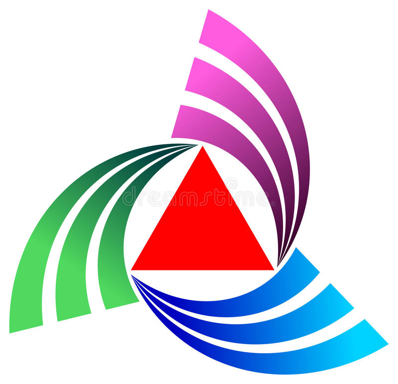 Triângulo com curvas ilustração stock