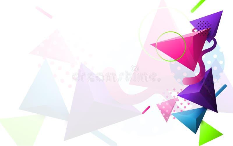 Triângulo 3D colorido abstrato e fundo geométrico moderno mínimo da forma ilustração royalty free