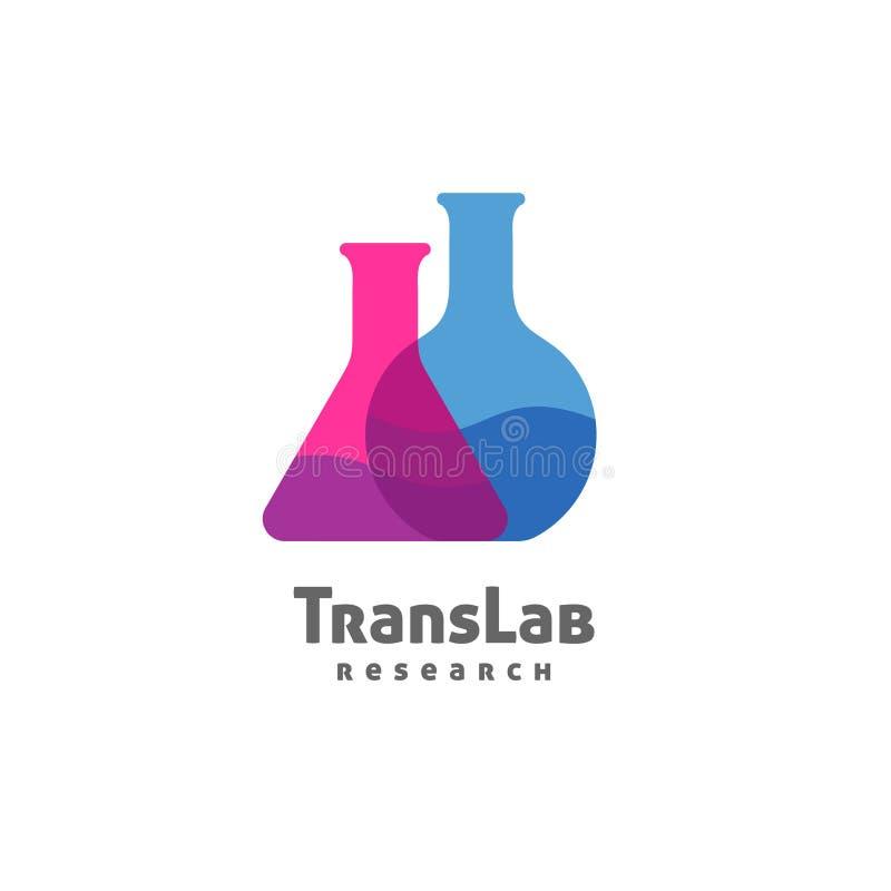 Triângulo da garrafa e redondo com líquido da cor dentro do logotipo ilustração royalty free