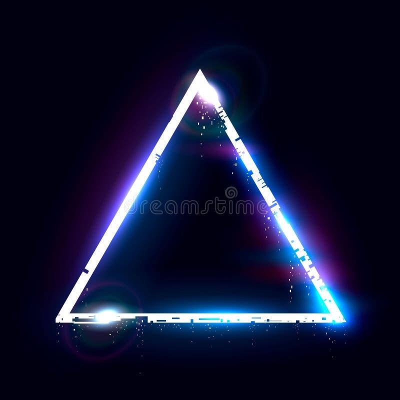 Triângulo de desmoronamento iluminado Elemento do projeto para a bandeira, inseto, cartão, cartaz ilustração do vetor