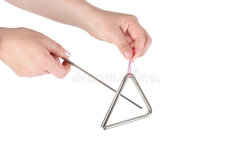 Triângulo do metal, instrumento de música imagem de stock