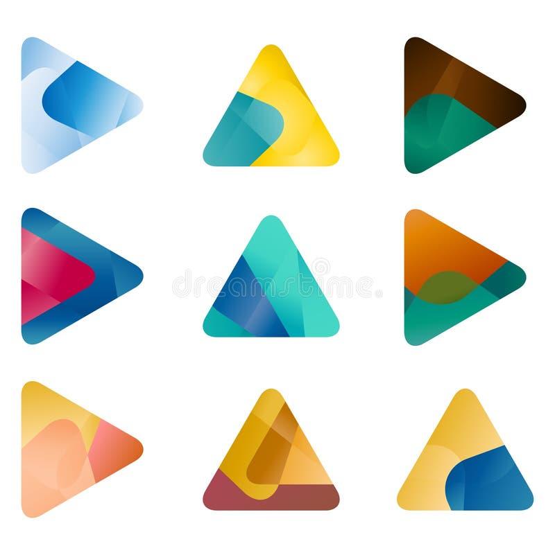 Triângulo do projeto, molde do logotipo do vetor da seta ilustração royalty free