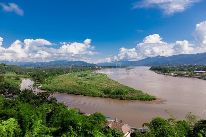 Triângulo dourado em Mekong River, Chiang Rai Province foto de stock royalty free