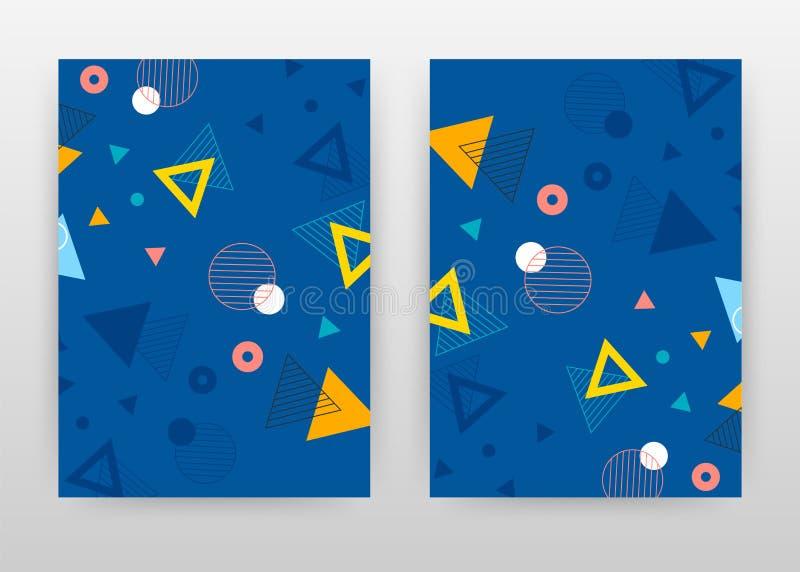 Triângulo e círculos geométricos no projeto de negócio azul para o informe anual, folheto, inseto, cartaz Vetor azul geométrico d ilustração royalty free