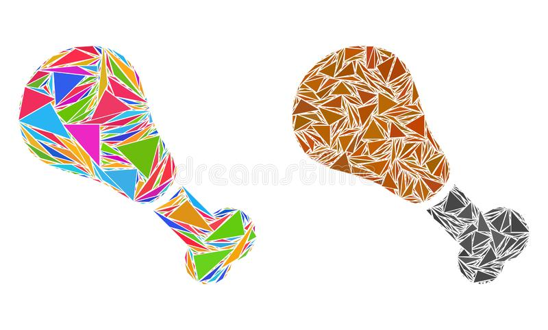 Triângulo Fried Chicken Leg Collage Icons ilustração royalty free