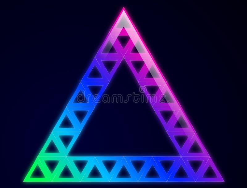 Triângulo incandescido abstrato no fundo escuro ilustração royalty free