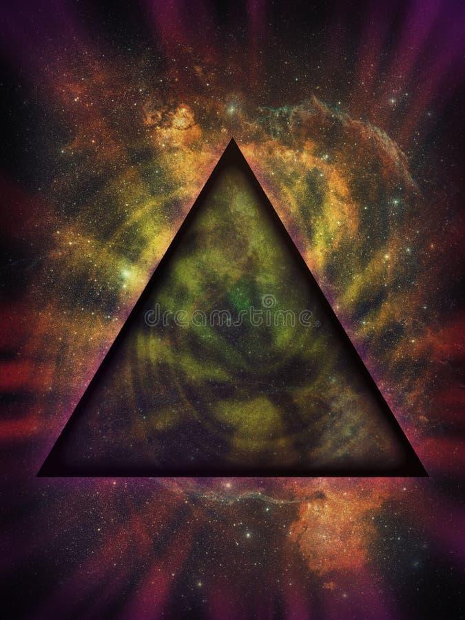 Triângulo Mystical de encontro ao fundo do espaço profundo ilustração royalty free
