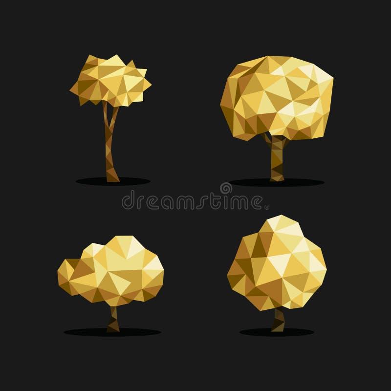 Triângulo poli da árvore do ouro origâmi ajustado do polígono do baixo ilustração stock