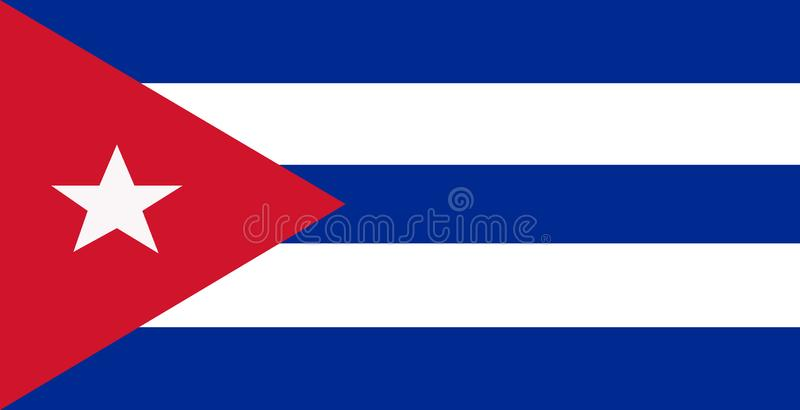 Triângulo vermelho do branco o cubano do azul dois das barras três da bandeira cinco com uma estrela cinco-aguçado ilustração royalty free