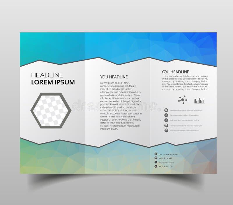 Triângulos abstratos dobráveis em três partes poligonais do molde do projeto do folheto, molde moderno da apresentação do triângu ilustração do vetor
