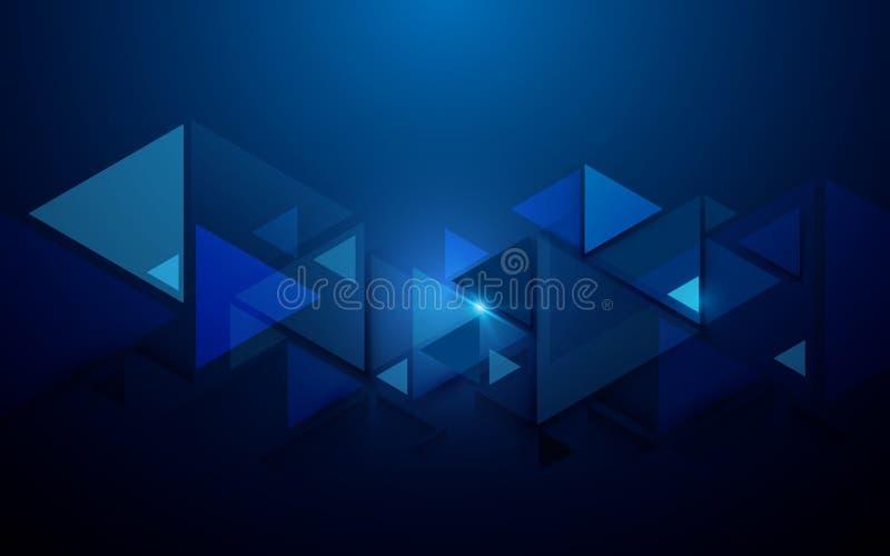 Triângulos abstratos e fundo futurista do conceito da tecnologia ilustração do vetor