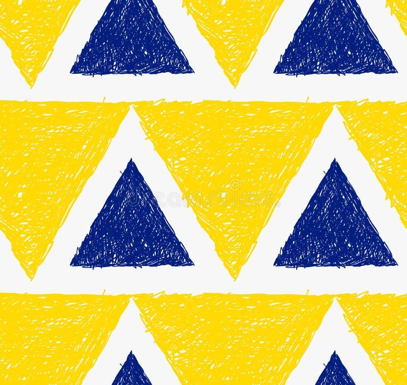 Triângulos amarelos e azuis chocados lápis ilustração royalty free