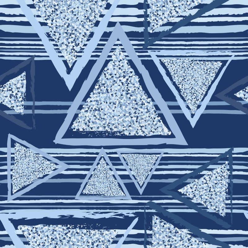Tri?ngulos azuis com uma textura fina Teste padr?o geom?trico abstrato sem emenda Textura sem emenda dos tri?ngulos Tra?os de pin ilustração do vetor
