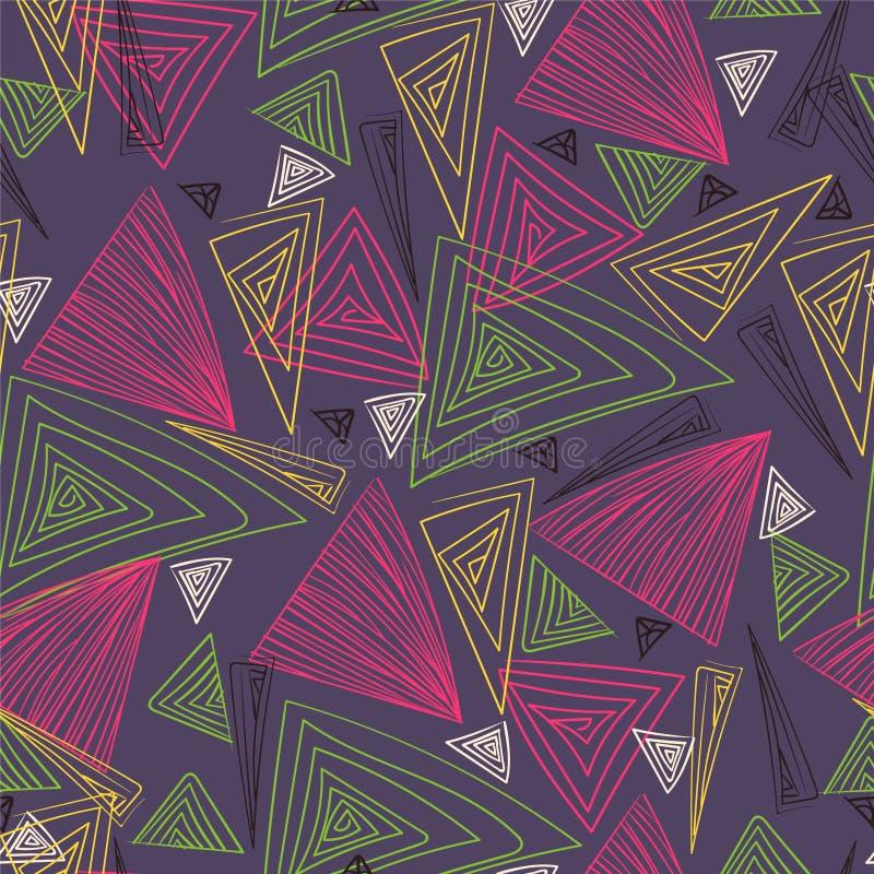 Triângulos coloridos Desenho da mão Textura sem emenda ilustração royalty free