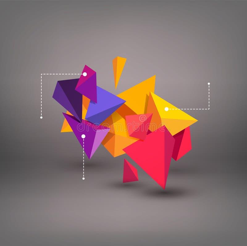 Triângulos 3d coloridos do vetor Abstracção Elemento para o moder ilustração royalty free