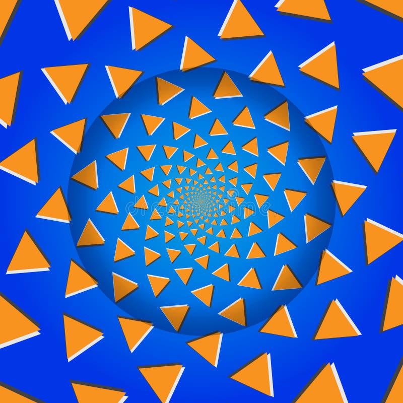 Triângulos de giro, ilusão ótica, ilustração do vetor. ilustração do vetor