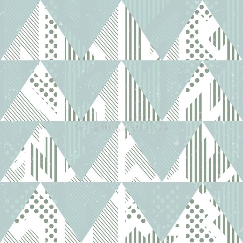 Triângulos do azul do vintage Teste padrão sem emenda com efeito do grunge ilustração stock