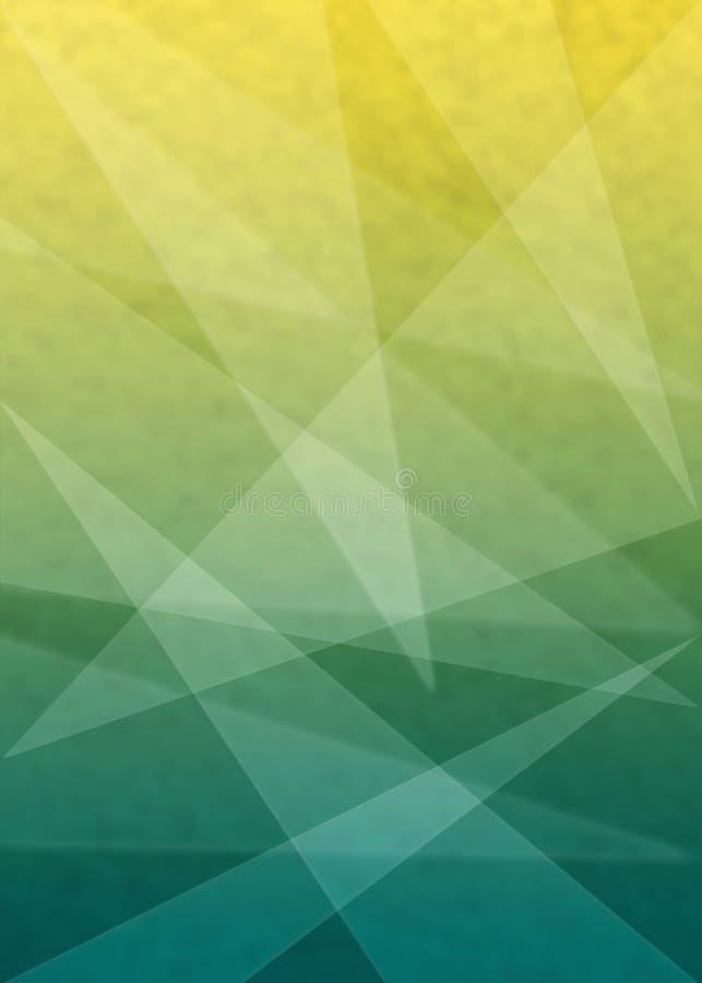 Triângulos obscuros abstratos no fundo verde e amarelo da textura do Grunge foto de stock royalty free