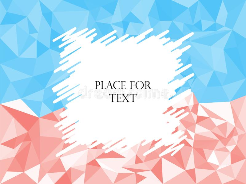 Triângulos vermelhos do sumário e azuis geométricos, mosaico poligonal da textura Chocando, espaço do quadro para o texto Ilustra ilustração do vetor