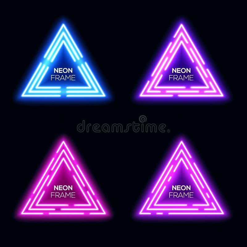 Triângulos violetas azuis da luz de néon ajustados Quadro de Techno ilustração do vetor