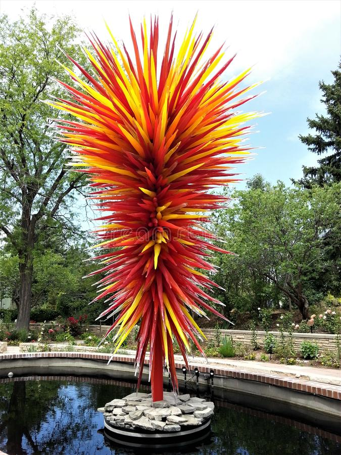 Chihuly centerpiece at Denver Botanical Gardens royalty free stock images
