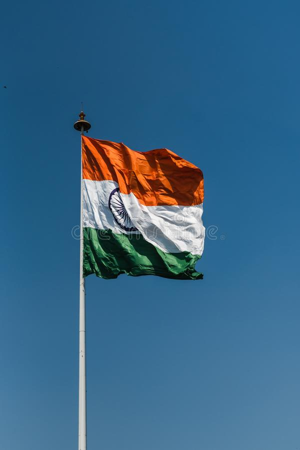 Tri-color National Flag of India. Tri-color Indian National Flag waving at New Delhi royalty free stock image