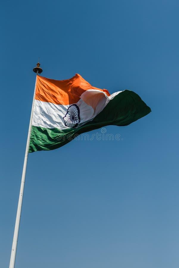 Tri-color National Flag of India. Tri-color Indian National Flag waving at New Delhi stock image