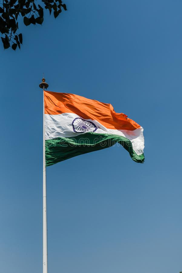Tri-color National Flag of India. Tri-color Indian National Flag waving at New Delhi stock photos