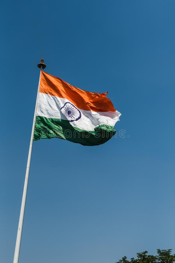 Tri-color National Flag of India. Tri-color Indian National Flag waving at New Delhi stock photography