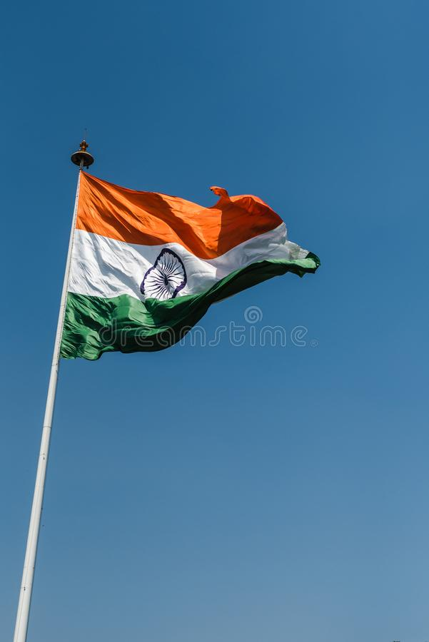 Tri-color National Flag of India. Tri-color Indian National Flag waving at New Delhi royalty free stock photography