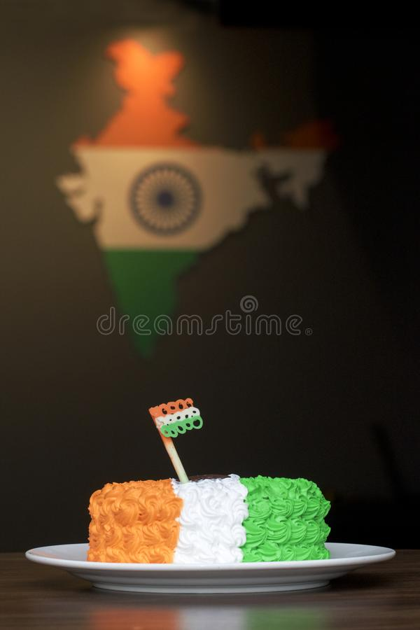 Tri Coloured Cream Cake - Independence Day or Republic Day Special 15th August India royalty free stock photo
