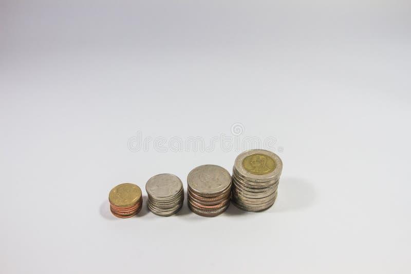 Tri de la pièce de monnaie thaïlandaise sur le fond blanc photos libres de droits
