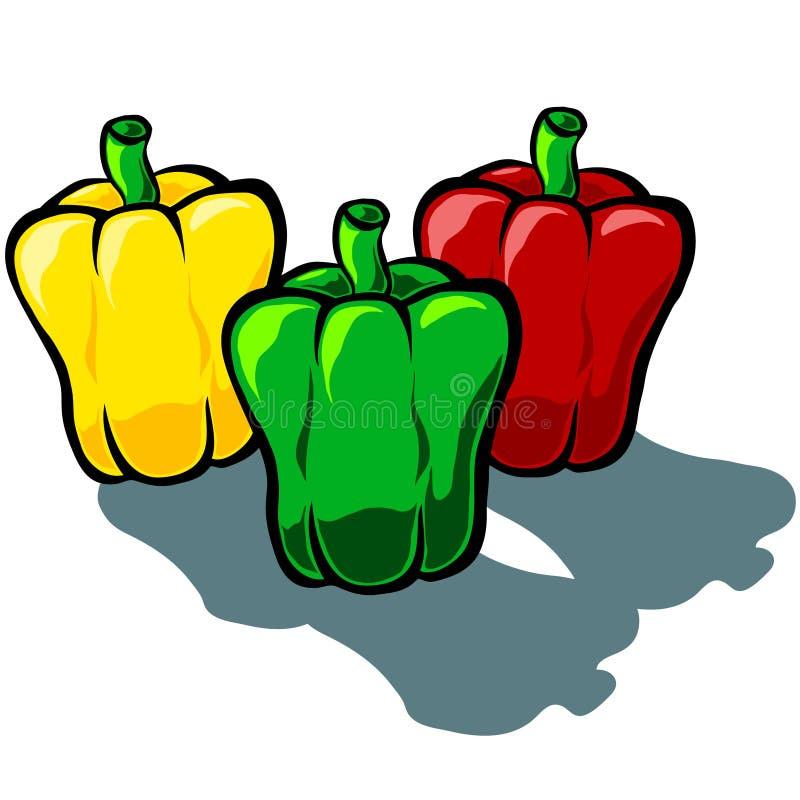 Tri färg för paprika stock illustrationer