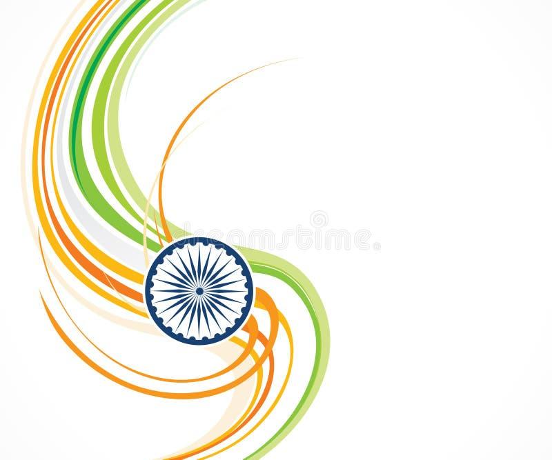 Tri färgvåg för abstrakt konstnärlig idérik indier vektor illustrationer
